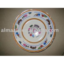 Bacia de salada de cerâmica branca lisa