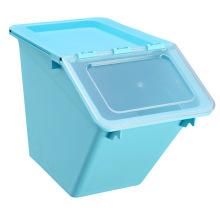 Recipiente de armazenamento de plástico colorido de grande capacidade para armazenamento doméstico