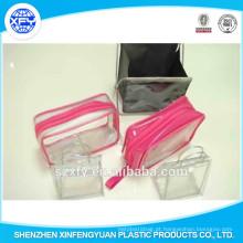 Zipper fechamento Selo de calor PVC Customized Logo saco de embalagem plástica para ferramentas de maquiagem