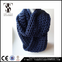 Blue color infinity girls scarf, Knitted acrylic scarf, scarf factory China