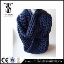 Echarpe en élasticité de couleur bleue, écharpe en acrylique tricoté, écharpe en Chine