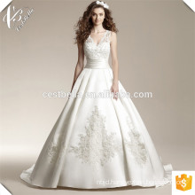 Hot Sale White V Neck Organza Satin Ball Gown Long Train Embroidered Wedding Dress