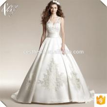Горячая Распродажа Белый V Шеи Органзы Атласная Бальное Платье С Длинным Поезд Вышитые Свадебное Платье