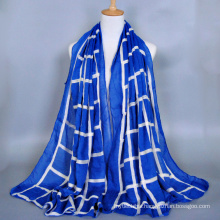 High Quality ladies fashion geometry voile embroidery scarf dubai muslim hijab scarf wholesale