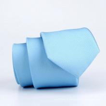 Cravate mince tissée en polyester tissé bleu