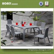 Rectangle Aluminum Rattan Dining Set Outdoor Modern Dining Set