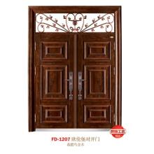 China Puerta de entrada del proveedor de puerta de acero Puerta de puerta de metal del hierro (FD-1207)