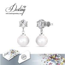 Destino joyas cristales de Swarovski Stud pendientes de perlas