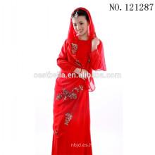 2016 encaje de satén de manga larga rebordeado vestido de boda musulmán rojo