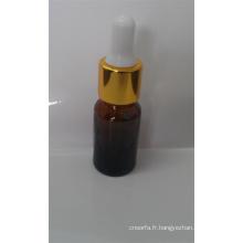 Flacon en verre ambré de haute qualité avec compte-gouttes en verre pour huile essentielle et le laboratoire