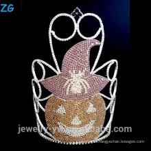 Farbige Kristall Halloween Kürbis Krone, große Halloween Wollmütze Krone