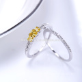 2017 New model 925 silver ring with yellow zircon high quality 925 italian silver ring wholesale