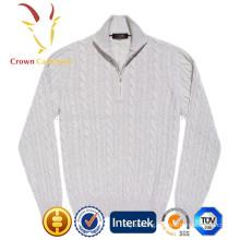 Men Cable Knit Zipper Cashmere Sweater