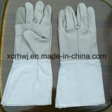Long Welding Gloves with Canvas Cuff (HL-G04) , A Grade Unlined Grain Cow Leather Welding Gloves, Good Quality Cow Grain Leather Welder Glove Supplier