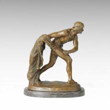 Estatua de la vida oriental Fisher Fishnet escultura de bronce TPE-226