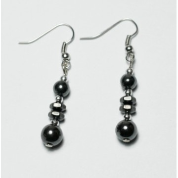 Hematite Fish Earring with silver color finding