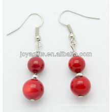Red coral with 3.2mm silver beads earring
