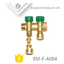 "EM-F-A084 Brass compression connector 1"" three way manifold underfloor heating pipe"