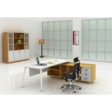 Mesa de mesa de móveis de escritório de madeira com perna de metal (HF-MB010)