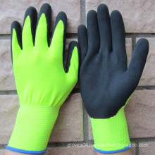 Nitrile Coated Gloves Hi-Viz Yellow Nylon Gloves Safety Work Glove