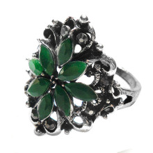 Special Offers zinc alloy Fashion jewelry wholesale emerald green resin flower finger Ring for women