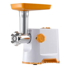 Electric meat grinder and sausage maker, aluminum or plastic food tray optional, compact figure
