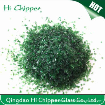 Декорированное дробленое тёмно-зеленое стекло