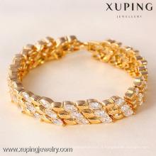 71332 Bracelet large plaqué or Xuping, Bracelet Fashion or et cristal mixte