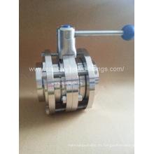 Válvula de mariposa sanitaria de acero inoxidable de 3 piezas soldada manualmente