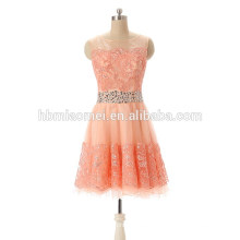 2017 New Lovely Pink Lace Dress Korean Evening Dress For Lady