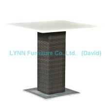 Outdoor Rattan Tisch Quarz Stein Tischplatte