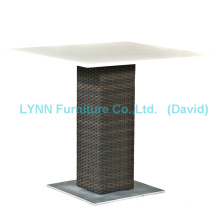 Outdoor Rattan Table Quartz Stone Table Top