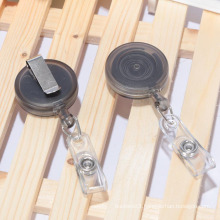 Retractable name badge holders with clip