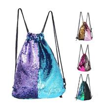 Reversible Sequins Bag Twinkling Bling Shining Shoulder Bag Drawstring Gym Bag