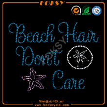 Beach Hair Do not Care hot-fix transferência de strass