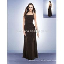 Einfache 2014 Chocolate Long Chiffon Brautjungfer Kleid Halter Backless in voller Länge A-Linie Promkleid mit asymmetrischen Falten NB0723