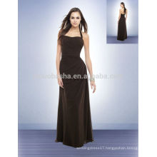 Simple 2014 Chocolate Long Chiffon Bridesmaid Dress Halter Backless Full-length A-Line Prom Gown With Asymmetrical Pleats NB0723