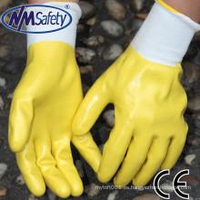 NMSAFETY alta quanlity poliéster recubierto completo impermeable guantes de trabajo de nitrilo