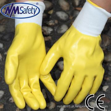 NMSAFETY alta quanlity poliéster revestido com luvas de trabalho de nitrilo à prova d 'água