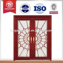 Porta de madeira de vidro temperado para varanda