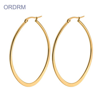 Ladies Simple Flat Gold Oval Hoop Örhängen