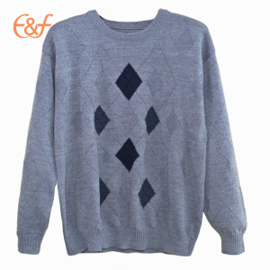 Men Knitted Intarsia Patterns Cotton Pique Sweater