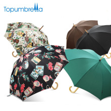March expo wholesale 23inch auto open wooden straight umbrella for sale
