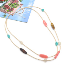 Custom rope 2 layer necklace for women stylish acrylic chain link colorful necklaces