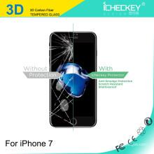 Shenzhen fábrica preço direto à prova de choque Anti-quebrar a fibra de carbono borda macia de vidro temperado para iphone 7