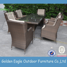 Wicker patio dining set table with 6 chairs