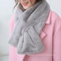 Women Classic Plain Color Fashion Faux Fur Winter Scarf (YKY4622)