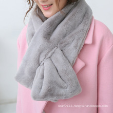 Women Classic Plain Color Fashion Faux Fur Winter Scarf (YKY4622)