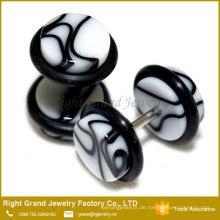 Kundengebundene 8mm 10mm weiße schwarze gefälschte Stecker UVacrylohrringe