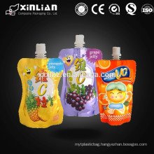 irregular shaped plastic fruit jelly/ juice packaging with spout